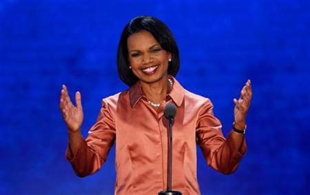 Former Secretary of State Condoleezza Rice reacts as she arrives to address delegates during the third session of the Republican National Convention in Tampa, Florida, August 29, 2012 REUTERS/Mike Segar