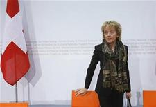 Switzerland's President and Finance Minister Eveline Widmer-Schlumpf arrives for a news conference in Bern December 12, 2012. German opposition-led states said they will continue to block a tax deal reached by the German and Swiss governments, crushing Berlin's hopes of salvaging the agreement through mediation, a magazine reported. REUTERS/Pascal Lauener (SWITZERLAND - Tags: POLITICS BUSINESS)