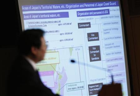 A projected map of Japan's territorial waters and Japan Coast Guard organization chart are displayed during a news conference by Japan Coast Guard Commandant Takashi Kitamura at the Foreign Correspondents' Club of Japan in Tokyo December 13, 2012. Japan protested to China on Thursday after a Chinese government plane entered what Japan considers its airspace over disputed islets in the East China Sea, the Japanese Foreign Ministry said. The incident prompted Japan's military to scramble eight F-15 fighter jets, the Defence Ministry said. Japanese officials later said the Chinese aircraft had left the area. A Chinese Foreign Ministry spokesman said the flight by the Chinese aircraft was ''completely normal'' and it called on Japan to stop entering the waters and airspace near the islets. REUTERS/Issei Kato (JAPAN - Tags: MILITARY POLITICS)