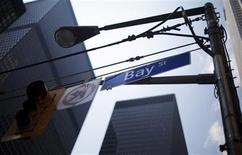 A Bay Street sign is seen in the heart of the financial district in Toronto, August 17, 2009. REUTERS/Mark Blinch