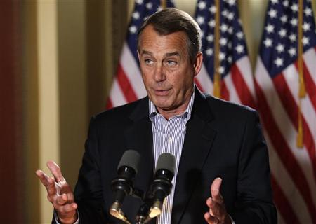 U.S. House Speaker John Boehner (R-OH) speaks to the media outside his office on Capitol Hill in Washington, December 7, 2012. REUTERS/Yuri Gripas