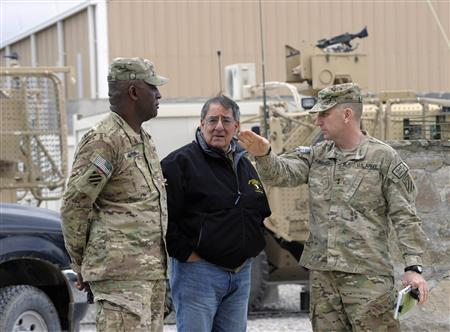 U.S. Defense Secretary Leon Panetta (C) talks with U.S. Army Major General Robert Abrams and Command Sergeant Major (CSM) Edd Watson (L) during a visit to Kandahar Airfield in Kandahar December 13, 2012. REUTERS/Susan Walsh/Pool