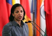 Embaixadora norte-americana Susan Rice é vista durante coletiva de imprensa em junho, em Nova York. Rice desistiu de concorrer ao cargo de secretária de Estado norte-americana nesta quinta-feira diante do que prometia ser uma difícil batalha de aprovação no Senado de seu nome no cargo. 07/06/2012 REUTERS/Allison Joyce
