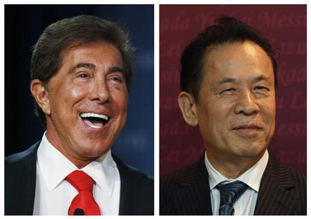 Wynn Resorts CEO Steve Wynn (L) and Universal Entertainment Corporation CEO Kazuo Okada are shown in this combination photo dated December 13, 2012. REUTERS/Staff/Files
