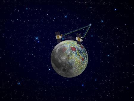 An artist's rendering of twin GRAIL spacecraft in orbit around the moon is shown in a NASA handout received by Reuters January 17, 2012. Reuters/NASA/Handout