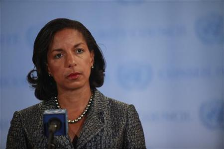 U.S. ambassador to the United Nations Susan Rice speaks to the media in New York April 13, 2012. REUTERS/Allison Joyce/Files