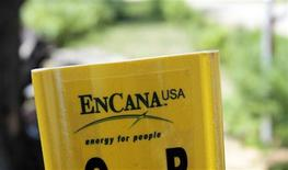 A yellow Encana natural gas pipeline marker is seen along a road on state forest park land in Kalkaska, Michigan June 20, 2012. REUTERS/Rebecca Cook