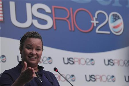 Environmental Protection Agency Administrator Lisa Jackson, speaks during a news conference in Rio de Janeiro June 20, 2012. REUTERS/Ueslei Marcelino