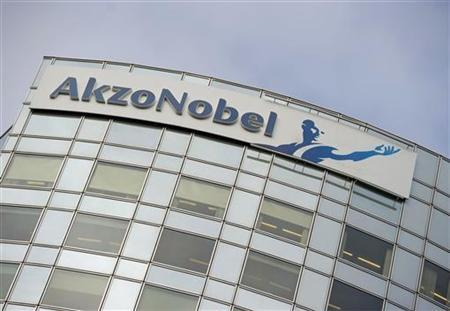 AkzoNobel's logo is seen, ahead of a presentation of the paint maker's 2011 fourth quarter and annual results, in Amsterdam in this file photo taken February 16, 2012. REUTERS/Robin van Lonkhuijsen/United Photos