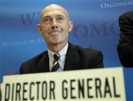 World Trade Organization Director General Pascal Lamy reacts before a news conference on annual trade forecast and statistics at the WTO headquarters in Geneva April 12, 2012. REUTERS/Denis Balibouse