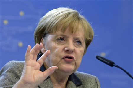 German Chancellor Angela Merkel holds a news conference during a European Union leaders summit, in Brussels December 14, 2012. REUTERS/Eric Vidal