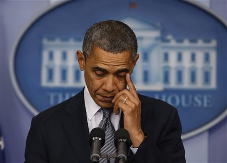 U.S. President Barack Obama speaks about the shooting at Sandy Hook Elementary School in Newtown, Connecticut, during a press briefing at the White House in Washington December 14, 2012. REUTERS/Larry Downing