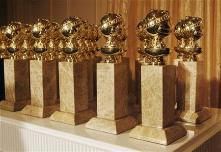 The Hollywood Foreign Press Association's new Golden Globe statuettes are shown during a news conference in Beverly Hills, California January 6, 2009. REUTERS/Fred Prouser