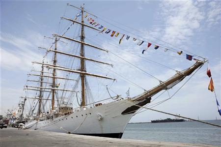 Argentine naval vessel Libertad is seen docked at Tema port in Accra October 11, 2012. REUTERS/Stringer