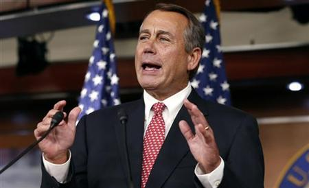 Speaker of the U.S. House of Representatives John Boehner speaks to reporters in the Capitol in Washington December 13, 2012. REUTERS/Kevin Lamarque