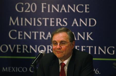 Bank of Italy Governor Ignazio Visco attends a news conference as part of Group of Twenty (G20) leading economies' finance ministers and central bankers in Mexico City February 26, 2012. REUTERS/Bernardo Montoya