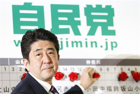 Japan's main opposition Liberal Democratic Party's (LDP) leader and former Prime Minister Shinzo Abe smiles as he puts a rosette on names of candidates, who are expected to win, at the LDP headquarters in Tokyo December 16, 2012. REUTERS/Yuriko Nakao