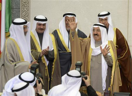 Emir Sheikh Sabah al-Ahmad al-Sabah waves after opening the 14th session of Parliament in Kuwait City December 16, 2012. REUTERS/Stephanie Mcgehee