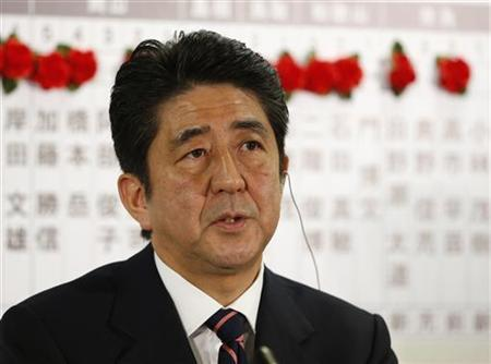 Japan's main opposition Liberal Democratic Party's (LDP) leader and former Prime Minister Shinzo Abe answers a live television interview at the LDP headquarters in Tokyo December 16, 2012. REUTERS/Yuriko Nakao
