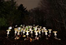 Twenty-seven wood painted angels are displayed outside of a home to honor the victims killed at Sandy Hook Elementary School in Newtown, Connecticut December 16, 2012. Twelve girls, eight boys and six adult women were killed in the shooting on Friday at Sandy Hook Elementary School in Newtown. REUTERS/Joshua Lott