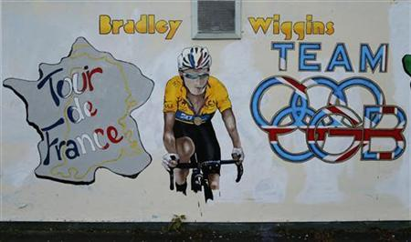 A Bradley Wiggins mural is seen on the wall of a pub near to his home in Eccleston, northern England November 8, 2012. REUTERS/Phil Noble/Files