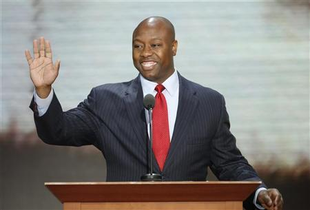 U.S. Rep. Tim Scott (R-SC) addresses crowd the during the second session of the Republican National Convention in Tampa, Florida, August 28, 2012 REUTERS/Mike Segar