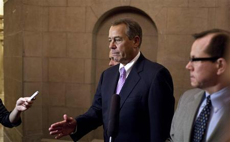 U.S. Speaker of the House of Representatives John Boehner (R-OH) walks to his office in the U.S. Capitol after meeting with U.S. President Barack Obama at the White House in Washington December 17, 2012. REUTERS-Joshua Roberts
