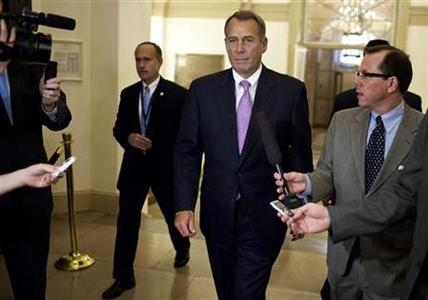 U.S. Speaker of the House of Representatives John Boehner (R-OH) walks to his office in the U.S. Capitol after meeting with U.S. President Barack Obama at the White House in Washington December 17, 2012. Obama and Boehner met at White House for about 45 minutes on Monday, but there was no word of any progress in their bid to avert the looming ''fiscal cliff,'' an aide said. REUTERS/Joshua Roberts