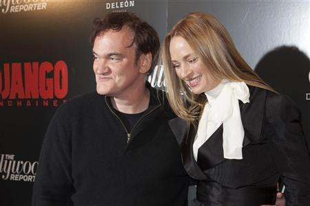 Quentin Tarantino and Uma Thurman attend the 'Django Unchained' premiere in New York December 11, 2012. REUTERS/Andrew Kelly