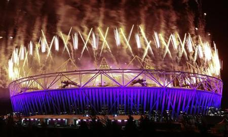 Fireworks explode over the Olympic Stadium during the closing ceremony of the London 2012 Paralympic Games September 9, 2012. REUTERS/Olivia Harris/Files