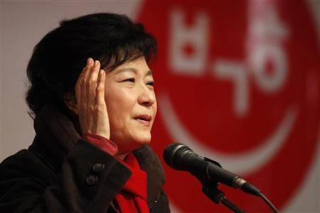 South Korea's presidential candidate Park Geun-hye of the ruling Saenuri Party speaks during her election campaign rally in front of a subway station in Incheon, west of Seoul December 17, 2012. REUTERS/Kim Hong-Ji
