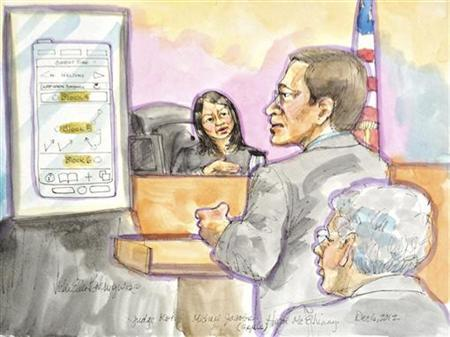 U.S. District Judge Lucy Koh listens to Apple attorney Michael Jacobs as Apple lead counsel Harold McElhinney (R) looks on during court proceedings in San Jose, California, December 6, 2012. Apple Inc and Samsung Electronics squared off again in court on Thursday, as the iPhone maker prepares to convince a U.S. district judge to ban sales of a number of the Korean company's devices and defend a $1.05 billion jury award. REUTERS/Vicki Behringer (UNITED STATES - Tags: ENTERTAINMENT CRIME LAW SCIENCE TECHNOLOGY)
