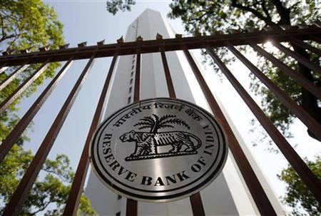 The Reserve Bank of India (RBI) logo is pictured outside its head office in Mumbai November 2, 2010. REUTERS/Danish Siddiqui/Files