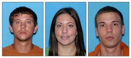 Dylan Dougherty Stanley, Lee Grace E. Dougherty, and Ryan Edward Dougherty, (L-R); are pictured in this combination image of law enforcement photographs released to Reuters on August 5, 2011. REUTERS/Pasco County Sheriff's Office/Handout