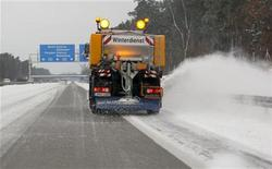 A snow plough removes snow from the A 115 motorway near Potsdam some 25 kilometres south west of Berlin December 9, 2012. REUTERS/Wolfgang Rattay (GERMANY - Tags: ENVIRONMENT)