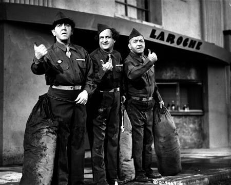 Actors Moe Howard (L), Larry Fine and Curly Howard, members of the comedy team The Three Stooges, are shown in this 1946 publicity photo from their film ''G.I. Wanna Home'' released to Reuters December 17, 2012. After a quest of more than a decade and countless hours of old-fashioned sleuthing, Stooges fan Jim Pauley is publishing ''The Three Stooges: Hollywood Filming Locations,'' which documents hundreds of the filming sites of the 190 short Columbia Pictures films made by Larry, Curly and Moe between 1934 and 1958. REUTERS/Columbia Pictures/Handout