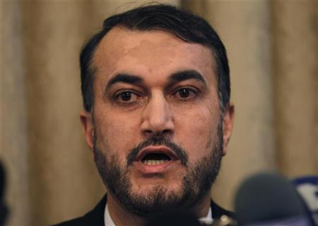 Iranian Deputy Foreign Minister for Middle East and African Affairs, Hossein Amir Abdollahian, talks during a news conference at the Iranian embassy in Damascus February 8, 2012, after his talks with Syrian officials. REUTERS/Khaled al-Hariri