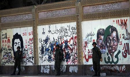 Members of the Republican Guard stand guard in front of graffiti on a wall of the presidential palace in Cairo December 18, 2012. REUTERS/Amr Abdallah Dalsh