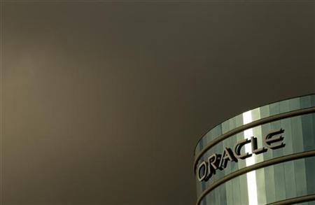 The company logo is shown at the headquarters of Oracle Corporation in Redwood City, California February 2, 2010. Picture taken February 2, 2010. REUTERS/Robert Galbraith/Files
