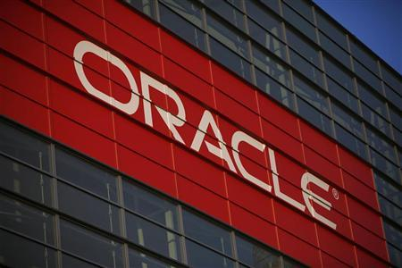 Oracle signage is seen outside Mocsone Center during Oracle OpenWorld 2012 in San Francisco, California October 1, 2012. REUTERS/Stephen Lam