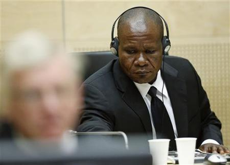 Mathieu Ngudjolo Chui, a Congolese national, sits in the courtroom of the ICC during the closing statements in the trial against Katanga and Ngudjolo Chui in The Hague May 15, 2012. REUTERS/Michael Kooren/Files
