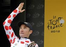 Comme en 2011, Thomas Voeckler a été cette année le héros du cyclisme français, capable en un Tour de France pourtant abordé dans de mauvaises conditions de donner l'exemple aux jeunes coureurs porteurs d'avenir. /Photo prise le 19 juillet 2012/REUTERS/Stéphane Mahé