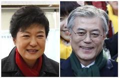 Corea del Sur podría haber elegido a su primera presidenta si se confirman los sondeos a pie de urna del miércoles, que llevarían al poder a la candidata conservadora Park Geun-hye, hija de un ex gobernante militar del que ejerció de primera dama en los años 70. Combinación de imágenes de Park Geun-hye (izq.) y Moon Jae-in, un antiguo abogado defensor de los derechos humanos y candidato del partido opositor de izquierda Partido Democrático Unido, en Seúl el 19 de diciembre. REUTERS/Kim Hong-Ji