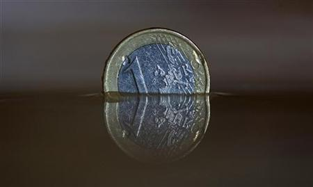 A one Euro coin is displayed in water in Munich August 20, 2012. REUTERS-Michaela Rehle