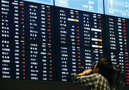 A cameraman films rises in share prices at the Tokyo Stock Exchange in Tokyo December 17, 2012. REUTERS/Yuriko Nakao