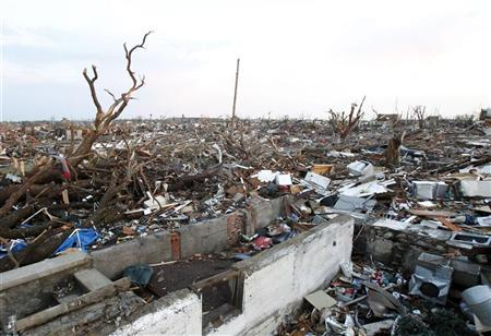 Blocks of homes lie in total destruction after a tornado hit Joplin, Missouri May 23, 2011. REUTERS/Mike Stone