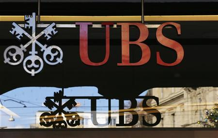 The logo of Swiss bank UBS is seen on a building in Zurich December 19, 2012. REUTERS/Michael Buholzer