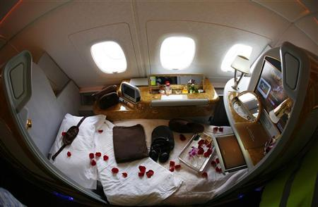 What you'd be missing: A first class seat is seen on board an Emirates Airbus A380-800 after it landed at Manchester Airport in Manchester, northern England, September 1, 2010. REUTERS/Phil Noble