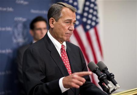 U.S. House Speaker John Boehner (R-OH) speaks at a news conference after a Republican caucus meeting on Capitol Hill in Washington on December 18, 2012. REUTERS/Joshua Roberts