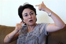 Haneen Zoabi, an Arab member of the Israeli Knesset (the Israeli parliament), talks to reporters in Amman August 31, 2010. REUTERS/Muhammad Hamed